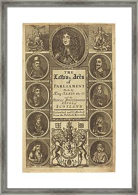 James Clark British, Active 1710-1720, Frontispiece Framed Print by Quint Lox