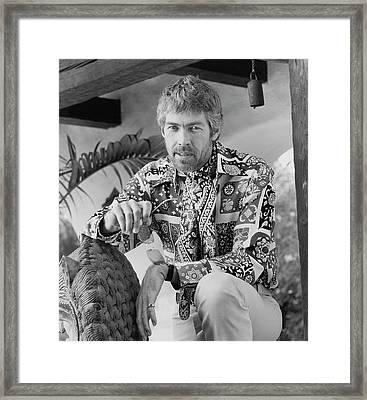 James Coburn Wearing A Bill Blass Shirt Framed Print
