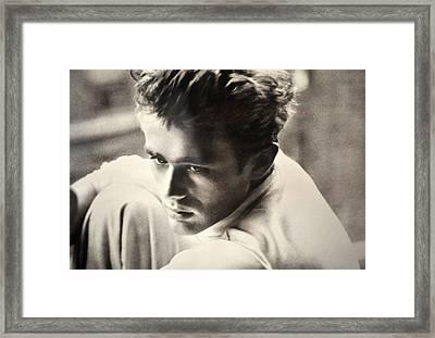 James Dean Black And White Framed Print