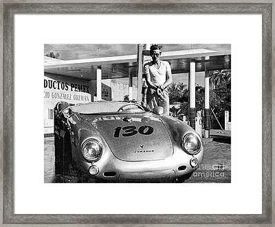 James Dean Filling His Spyder With Gas Black And White Framed Print