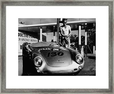 James Dean Filling His Spyder With Gas In Black And White Framed Print