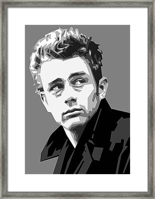 James Dean In Black And White Framed Print