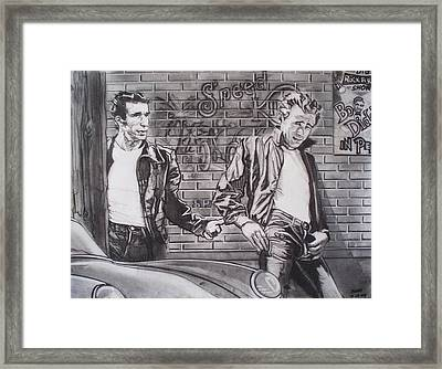 James Dean Meets The Fonz Framed Print by Sean Connolly