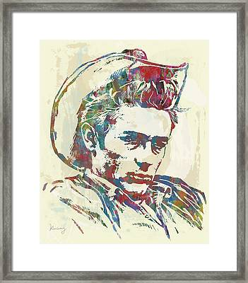James Dean  - Stylised Etching Pop Art Poster Framed Print by Kim Wang