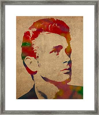 James Dean Watercolor Portrait On Worn Distressed Canvas Framed Print by Design Turnpike