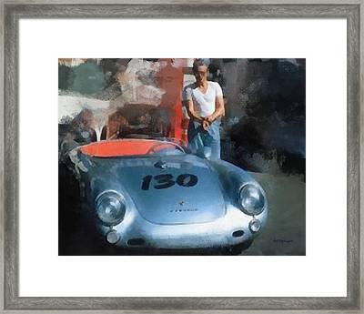 James Dean With His Spyder Framed Print