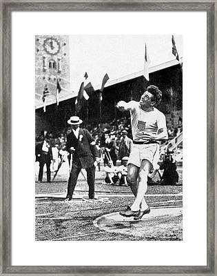 James Duncan Discus Throw Framed Print by Underwood Archives