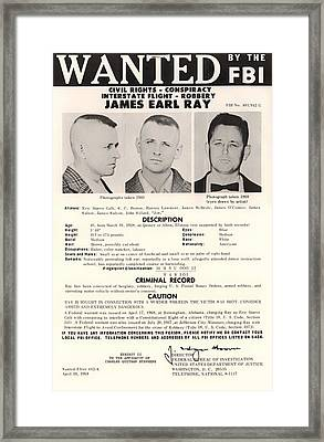James Earl Ray Fbi Wanted Poster 1968 Framed Print by Mountain Dreams