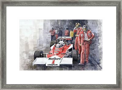 James Hunt Monaco Gp 1977 Mclaren M23 Framed Print by Yuriy Shevchuk