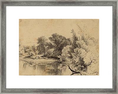 James Mcdougal Hart, Pond Edge, American Framed Print by Quint Lox