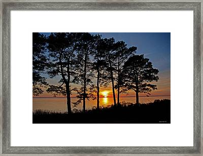 James River Sunset Framed Print by Suzanne Stout