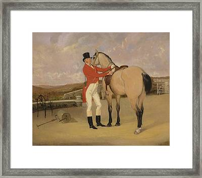 James Taylor Wray Of The Bedale Hunt With His Dun Hunter Framed Print by Litz Collection