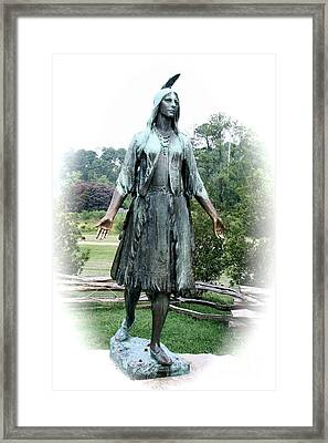 Jamestown Pocahontas Statue Framed Print by Christiane Schulze Art And Photography