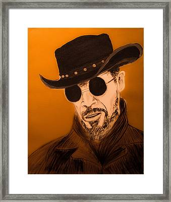 Jamie Foxx As Django Unchained Framed Print by Casey Tovey