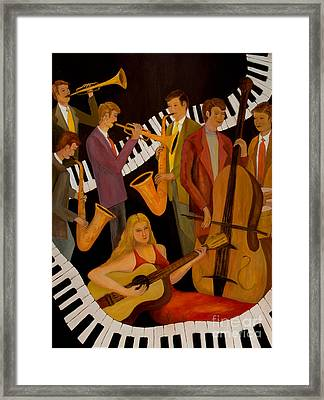 Jamin' With The Lady In Red Framed Print by Larry Martin