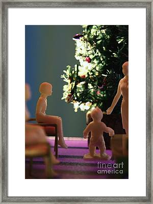 Jan Imagines How A New Chatty Cathy Doll Is Going To Look Under The Tree Framed Print by Wylder Flett