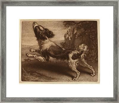 Jan Verkolje I Dutch, 1650 - 1693, A Spaniel Jumping Framed Print