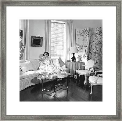 Jane Engelhard In Her Drawing Room Framed Print by Horst P. Horst