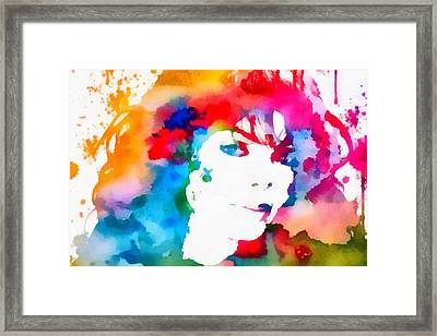 Janet Jackson Watercolor Paint Splatter Framed Print
