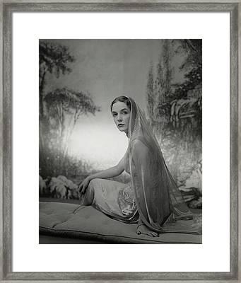 Janet Newbold Wearing A Sari Framed Print