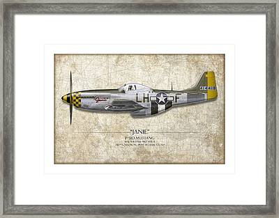 Janie P-51d Mustang - Map Background Framed Print by Craig Tinder