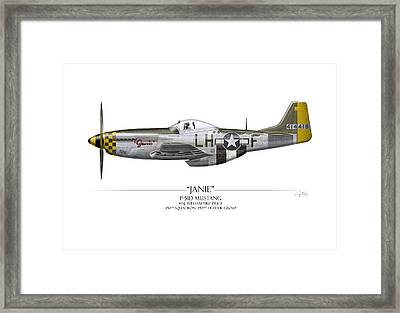 Janie P-51d Mustang - White Background Framed Print by Craig Tinder