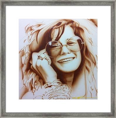 Janis Joplin - ' Janis ' Framed Print by Christian Chapman Art