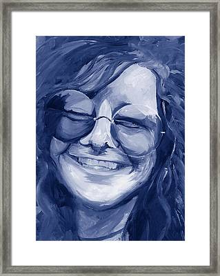 Framed Print featuring the painting Janis Joplin Blue by Michele Engling