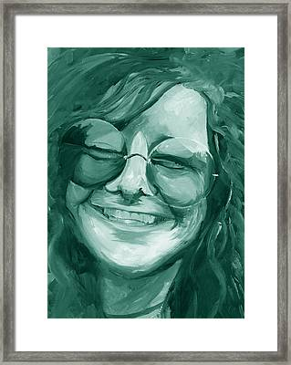 Framed Print featuring the painting Janis Joplin Green by Michele Engling