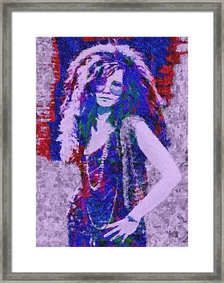 Janis Joplin Mosaic Framed Print by Jack Zulli