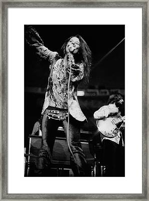 Janis Joplin On Stage Framed Print by Charles Tracy