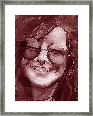 Framed Print featuring the painting Janis Joplin Red by Michele Engling