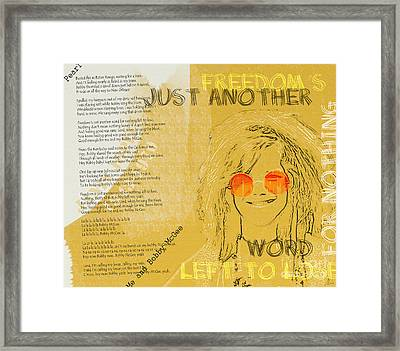 Janis Joplin Song Lyrics Bobby Mcgee Framed Print