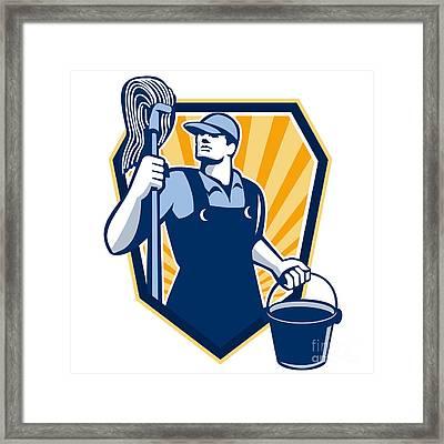 Janitor Cleaner Hold Mop Bucket Shield Retro Framed Print by Aloysius Patrimonio