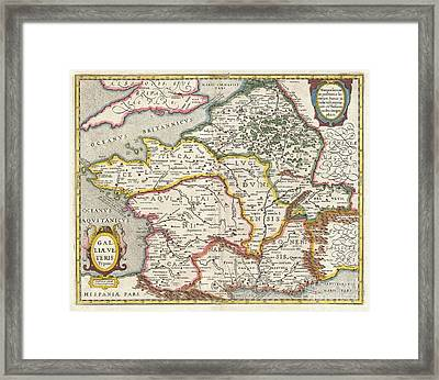 Jansson Map Of France Or Gaul In Antiquity Framed Print by Paul Fearn