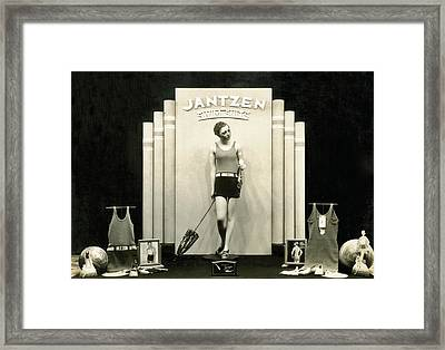 Jantzen Swim Suit Display Framed Print by Underwood Archives