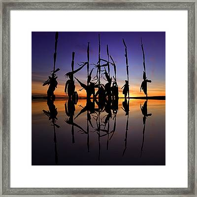 January Cornstalks Framed Print by Jaki Miller
