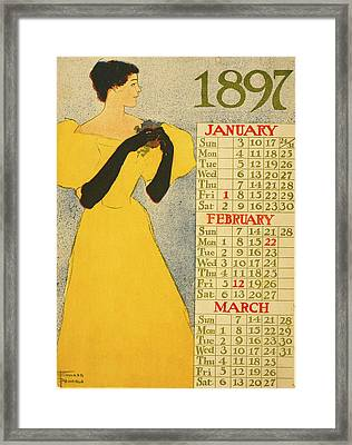 January February March Framed Print by Edward Penfield