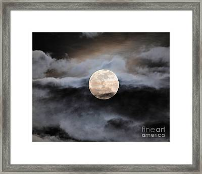 January Full Moon With Clouds Framed Print by Jai Johnson