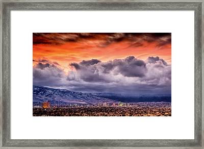 January Sunset Over Reno Framed Print by Janis Knight