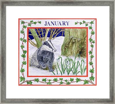 January Wc On Paper Framed Print by Catherine Bradbury