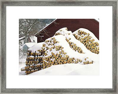 Framed Print featuring the photograph January Woodpile by Alan L Graham
