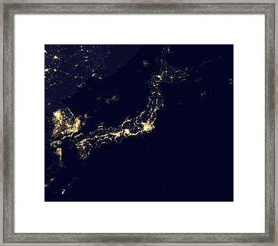 Japan At Night, Satellite Image Framed Print by Science Photo Library