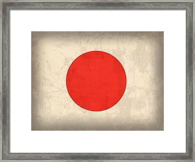 Japan Flag Vintage Distressed Finish Framed Print