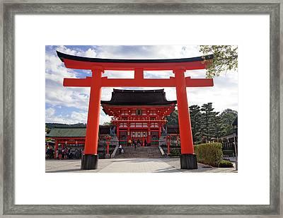 Japan, Kyoto Torii Gate In Front Framed Print