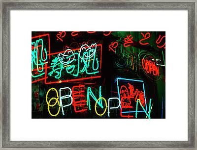 Japan, Osaka Neon Signs For Sale Framed Print by Jaynes Gallery