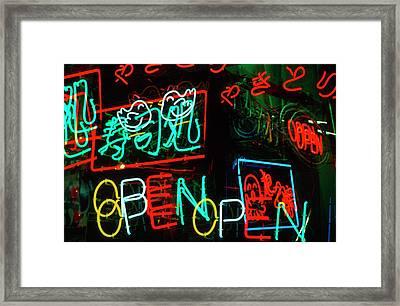 Japan, Osaka Neon Signs For Sale Framed Print