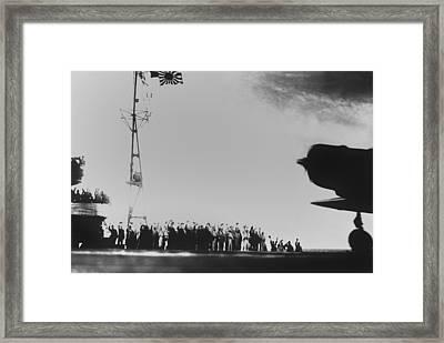 Japanese Aircraft Carrier Crew Waves Framed Print