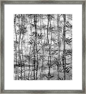 Japanese Bamboo Grunge Black And White Framed Print