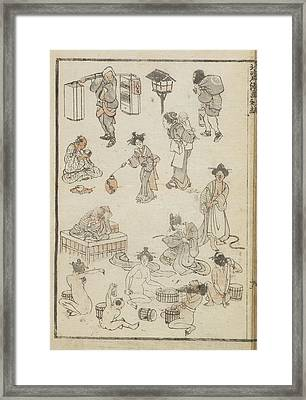 Japanese Bathing Framed Print by British Library